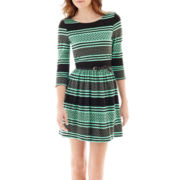 Love Reigns 3/4-Sleeve Textured Knit Print Dress