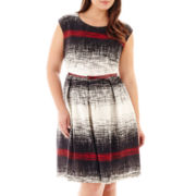 Tiana B. Cap-Sleeve Fit-and-Flare Scratch-Print Dress - Plus