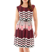 Tiana B. Cap-Sleeve Belted Fit-and-Flare Print Dress - Plus