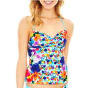 Arizona Floral Print Bandeaukini Swim Top - Juniors