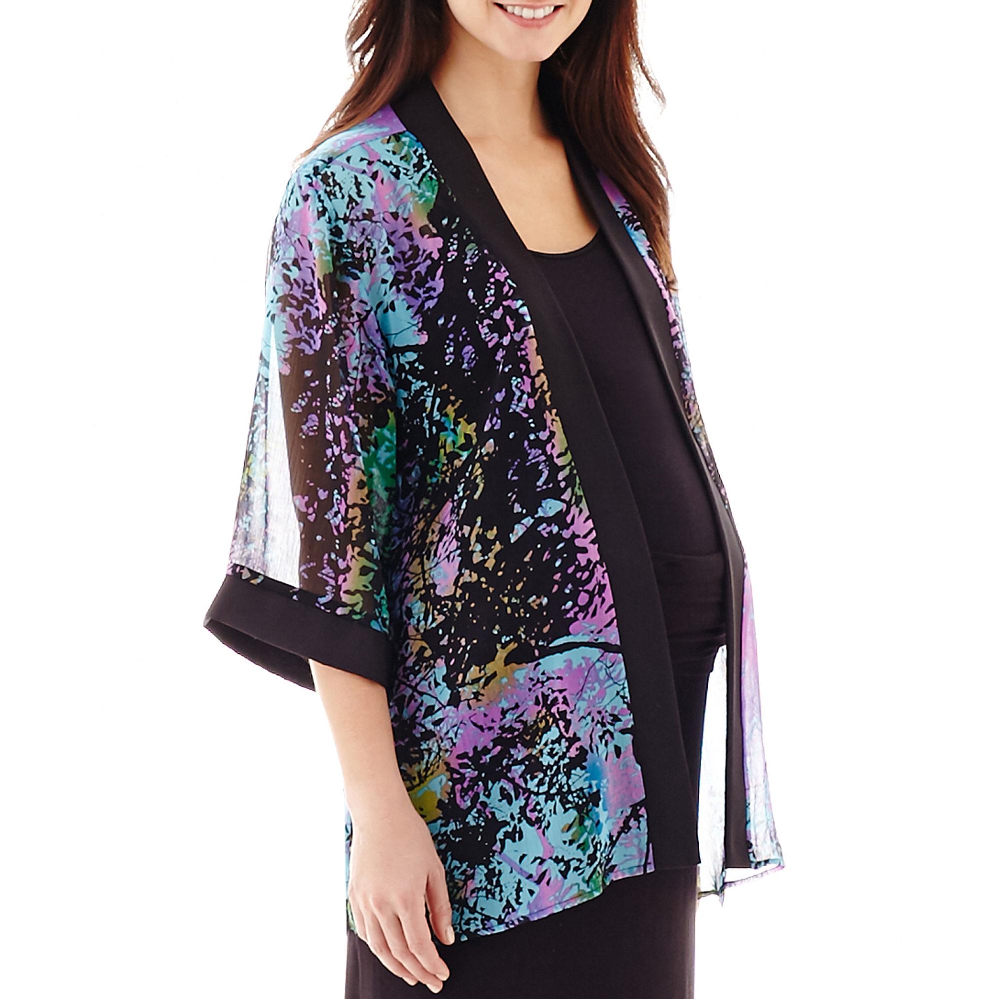 Maternity 3/4-Sleeve Open-Frame Kimono Jacket plus size,  plus size fashion plus size appare