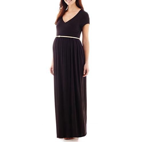 Maternity Short-Sleeve Surplice Maxi Dress with Glitter Belt