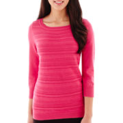 Liz Claiborne® 3/4-Sleeve Fancy-Stitch Sweater - Petite