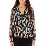 Liz Claiborne® Long-Sleeve Crossover Print Blouse