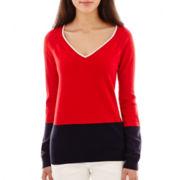 Liz Claiborne® Long Sleeve V-Neck Colorblock Sweater - Petite