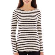Liz Claiborne® Long-Sleeve Striped Boatneck Tee - Petite