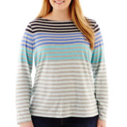 Liz Claiborne Long-Sleeve Boatneck Striped Tee - Plus