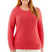 Liz Claiborne® Long-Sleeve Ribbed High-Low Sweater - Plus