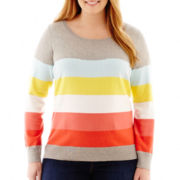 Liz Claiborne® Long-Sleeve Multicolor-Striped Sweater - Plus