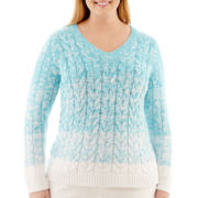Liz Claiborne® Long-Sleeve V-Neck Ombré Sweater - Plus