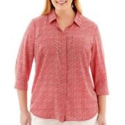 Liz Claiborne® Long-Sleeve Button-Front Shirt - Plus