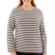 Liz Claiborne® Long-Sleeve Striped Boatneck Tee - Plus