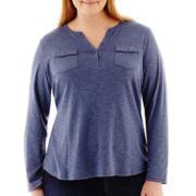 Liz Claiborne® Long-Sleeve Slub Henley Tee - Plus