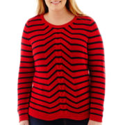Liz Claiborne® Long-Sleeve Striped Cable Sweater - Plus