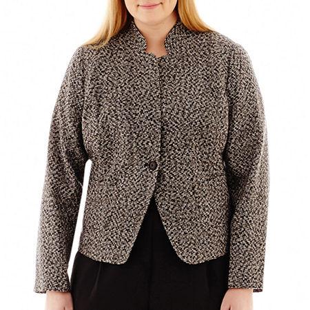 Liz Claiborne 1-Button Tweed Jacket - Plus