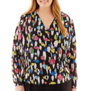 Liz Claiborne® Long-Sleeve Crossover Print Blouse - Plus