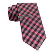JF J. Ferrar® Blurred Gingham Tie and Tie Bar Set