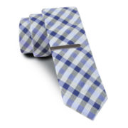 JF J. Ferrar® Blurred Gingham Tie and Tie Bar Set - Skinny