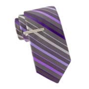 JF J. Ferrar® Brian Stripe Slim Tie