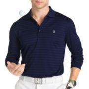 IZOD® Golf Long-Sleeve Textured Stripe Polo