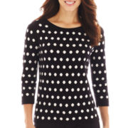 Liz Claiborne® 3/4-Sleeve Dot Sweater - Petite
