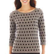 Liz Claiborne® 3/4-Sleeve Dot Sweater
