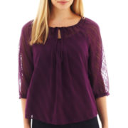 St. John's Bay® 3/4-Sleeve Clip Dot Woven Top - Petite