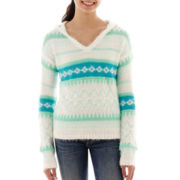 Arizona Long-Sleeve Fair Isle Eyelash Hoodie