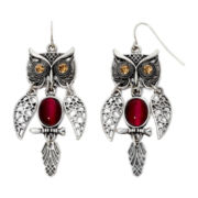 Decree® Shaky Owl Drop Earrings