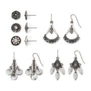 Decree® Stud and Drop Earring Set of 6
