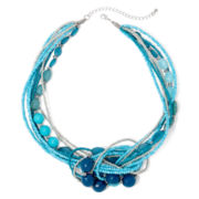 Mixit™ Blue Seed Bead Knot Statement Necklace