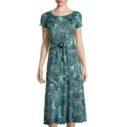 Perceptions Short-Sleeve Fit-and-FlareMidi Dress