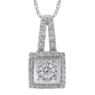 jcpenney.com | 1/3 CT. T.W. Diamond 14K White Gold Square Pendant