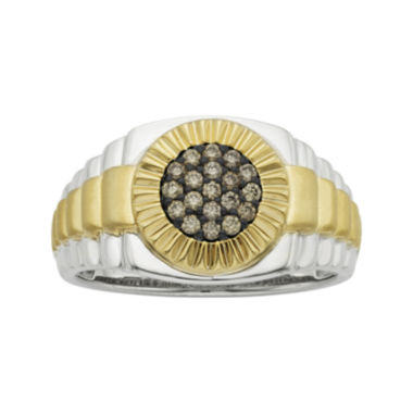 jcpenney.com | Mens 1/4 CT. T.W. White and Champagne Diamond 10K Two-Tone Gold Ring