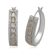 1/4 CT. T.W. Diamond Sterling Silver and 14K Yellow Gold Accent Hoop Earrings