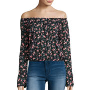 Arizona Long-Sleeve Off-Shoulder Floral Peasant Shirt