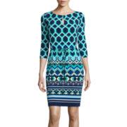 Liz Claiborne® 3/4-Sleeve Belted Sheath Dress