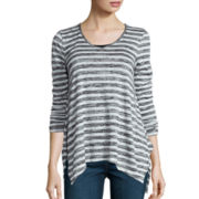 a.n.a® Long-Sleeve V-Neck Stripe Shirt- Petite