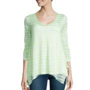 a.n.a® Long-Sleeve V-Neck Stripe Shirt- Petite