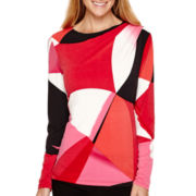 Worthington® Long-Sleeve Drape-Neck Top