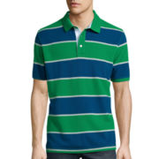 St. John's Bay® Short-Sleeve Rugby-Striped Piqué Polo