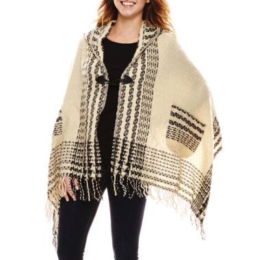 jcpenney.com | Manhattan Hat Company® Textured Border Plaid Cape with Hood