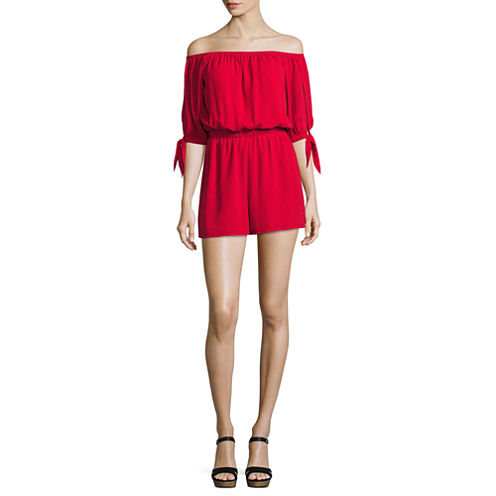 City Triangle Cold Shoulder Tie Sleeve Romper