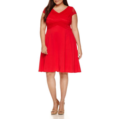 jcpenney.com | Signature by Sangria Short Sleeve Fit & Flare Dress-Plus