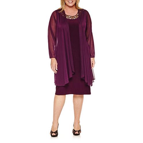 Blu Sage 3/4 Sleeve Jacket Dress-Plus