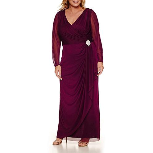Blu Sage Long Sleeve Evening Gown-Plus