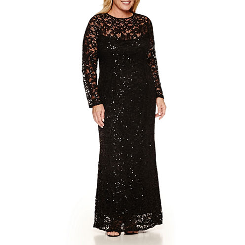 Blu Sage Long Sleeve Lace Sequin Evening Gown-Plus