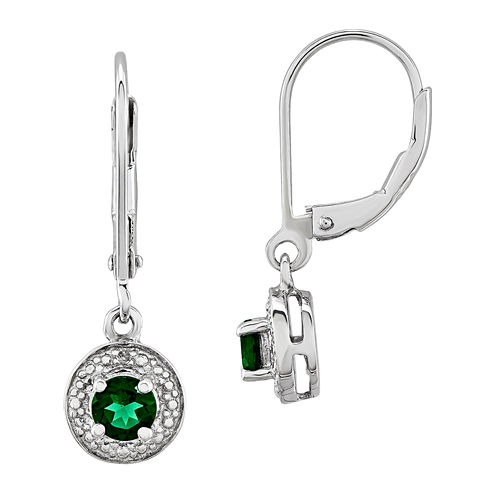 Diamond Accent Lab Created Emerald Sterling Silver Drop Earrings