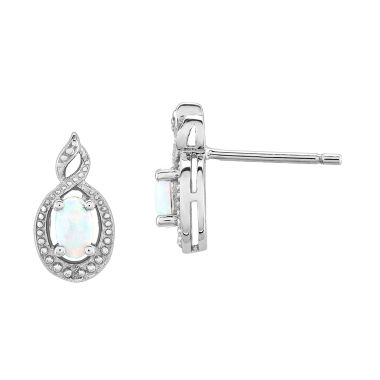 jcpenney.com | Diamond Accent Oval White Opal Sterling Silver Stud Earrings