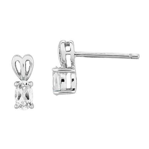 Oval White Topaz Sterling Silver Stud Earrings